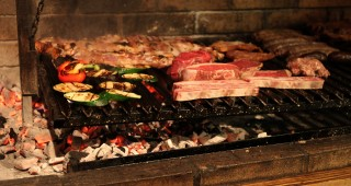 Meats and vegetables on the grill