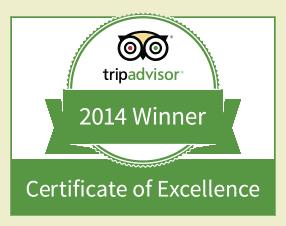 Winner Tripadvisor Certificate of Excellence 2014