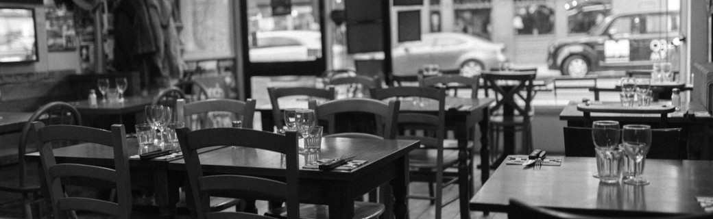 restaurant interior in black and white